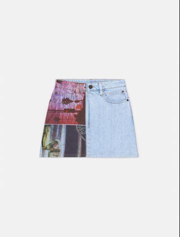 女士新款1978系列印花纯棉牛仔短裙 J800028