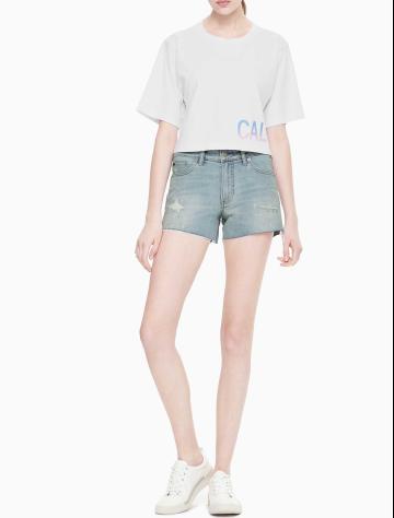 女士新款纯棉圆领短款T恤 J211464