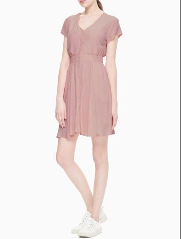 女士新款短袖V领梭织连衣裙 J211467
