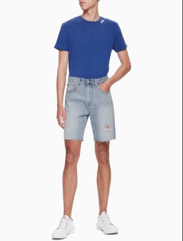 男士新款纯棉破洞牛仔短裤 J313062