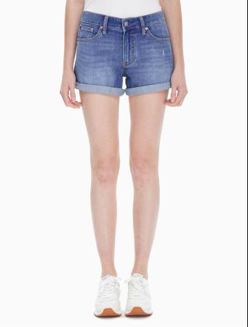 女士新款翻边牛仔短裤 J212054