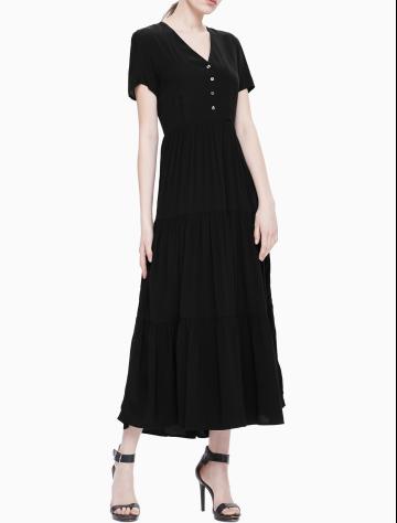 女士新款短袖V领长款梭织连衣裙  J211634