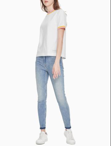 女士新款圆领短袖撞色纯棉T恤 J209653